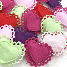 30/60/300PCS Two Layers Hearts Padded Felt Appliques Craft Lots A318