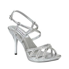 Silver Rhinestone Stiletto High Heel Formal Prom Bridal Sandal Women's Shoes