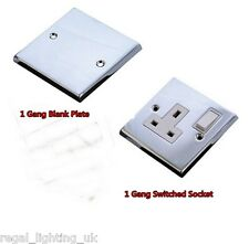 CED POLISHED CHROME DECORATIVE SOCKETS AND SWITCHES WITH WHITE INSERT / ROCKERS