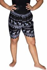 Boxer Shorts Thai Harem Shorts Neon Black Elephant Rayon Unisex Shorts US SHIP