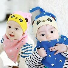 Sweety Baby Kids Infant Cartoon Saliva Towel Head Scarf Bandana Lunch Bibs+Hat