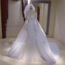 Full Lace Beaded Formal Mermaid Detachable Train Wedding Dress