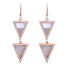 .925 Sterling Silver CZ Triangle Dangle Earrings, Love Gift, Geometric Drop