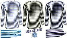 Mens T-Shirt Long Sleeve TELNYASHKA Russian Military Uniform Striped Cotton Tee