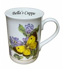 BN Boxed Personalised Floral Butterfly Fine Bone China Mug, Message Gift Mug