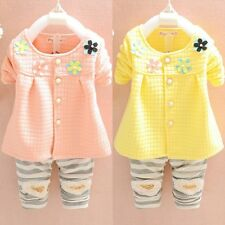 2Pcs Kid Baby Girl Toddler Button Long Sleeve Shirt+Pants Set Cotton Outfits