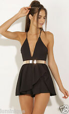 Tiered Skirt Dress Look Party Playsuit Lined Plunging V Neck Top L 12 14 Black