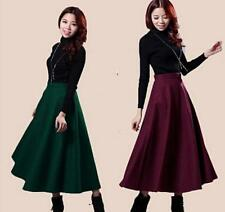 Ladies New Retro Womens Slim Thick wool pleated Long MAXI A-line Skirts Size