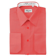 BERLIONI ITALY MEN'S CONVERTIBLE CUFF SOLID ITALIAN FRENCH DRESS SHIRT CORAL