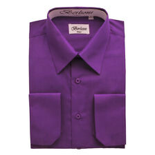 BERLIONI ITALY MEN'S CONVERTIBLE CUFF SOLID ITALIAN FRENCH DRESS SHIRT PURPLE