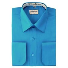 BERLIONI ITALY MEN'S CONVERTIBLE CUFF SOLID ITALIAN FRENCH DRESS SHIRT TURQUOISE