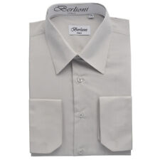 Berlioni Italy Men's Convertible Cuff Solid Italian French Dress Shirt Silver