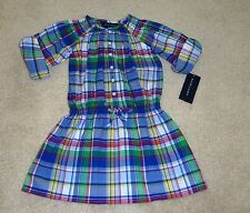 NWT Ralph Lauren Baby Girls' Madras Blue Dress With Bloomers Set 9M 2T 3T