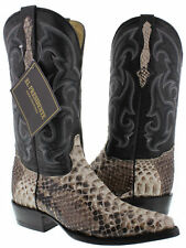 mens real python back snake skin genuine leather cowboy boots rodeo western