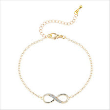 Jewellery Infinity Love Symbol Silver Bracelet Crystals Cuff bangle Chain Women