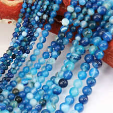 "15"" Agate Onyx Blue Stripe Gem 1 Bunch Round Loose Bead Stone Necklace Jewelry"