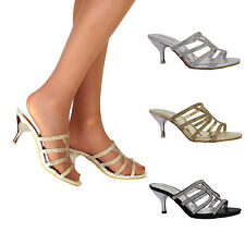 Ladies Diamante Kitten Mid High Heel Slip On Bridal Wedding Sandals Party Shoes
