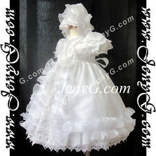 #C6 Baby Girl Christening Baptism First Holy Communion Party Gown Dress Bonnet
