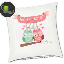Personalised Love Birds  Cushion Cover.Add your own text-ILVC 1112
