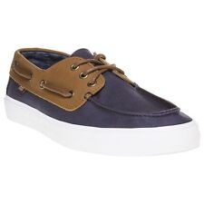 New Mens Vans Brown Chauffeur Sf Canvas Trainers Boat Shoes Lace Up