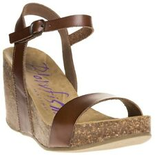 New Womens Blowfish Brown Hightime Synthetic Sandals Platforms Buckle