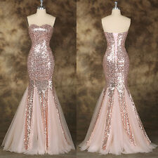 Sequins Mermaid Long Evening Party Cocktail Prom  Gown Wedding Bridesmaid Dress