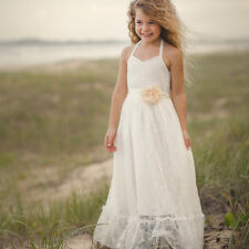 Flower Girl Dress Princess Vintage Special Occasion Party Wedding Lace Maxi Sash