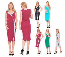WOMENS VINTAGE RETRO 1950S FITTED SLEEVELESS COLORBLOCK BODYCON PENCIL DRESS