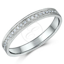 9ct White Gold .10ct Diamond & Milgrain Ring 3mm