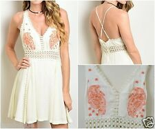 Crochet Embroidered Paisley 100% Cotton Dress Fully Lined 8 10 12 14 BOHO Floral