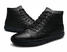 Mens New fashion real Leather Shoes Casual Black Ankle Boots Dress plus size