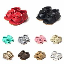 0-18M Baby Soft Sole Crib Shoes Leather Shoes Toddler Girl Tassel Moccasin AS