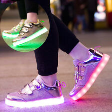 Xmas Gift 7 LED Light Up Sneaker Kids Boy Girl USB Lace Up Luminous Casual Shoes