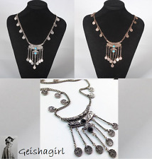 3 Design Tibetan Silver Gold Tassel Coin Stone Statement Necklace Tribal Boho UK