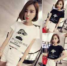 Crop Top Loose Cartoon letter Printed short-sleeved t-shirt cotton TEE H10152