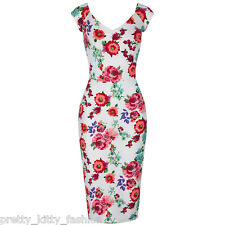 PRETTY KITTY 40s CREAM FLORAL BODYCON WIGGLE PENCIL VINTAGE COCKTAIL DRESS 8-18