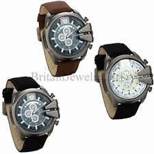 Men's Leather Band Quartz Watch Large Round Dial Sports Army Wrist Watches