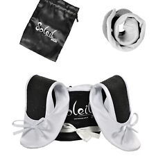 New Foldable / Rollable white Ballet flats with bag. S,M,L 5,6,7,8,9,10 wedding