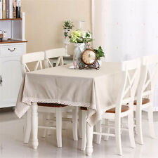 High Quality Natural Plain Rectangular Cotton Linen Universal Table Cloth Cover