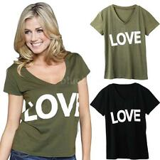 Casual Summer Women Short Sleeve T-shirt Tops Shirt Loose Blouses Sexy E3A4
