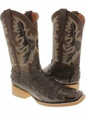 Men's Classic Brown Crocodile Alligator Back Cowboy Boots Exotic Square Toe