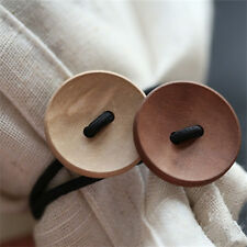 Women Simple Wood Elastic Hair Tie Rope Band Ponytail Holder Button New Elegant