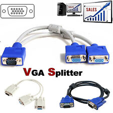 1 PC Male TO 2 VGA Female Y Splitter/ SVGA Male LCD TFT Monitor Video Cable Cord