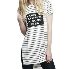 Sexy Summer Women Long Top Short Sleeve Striped Letter Printed T-Shirt Blouse