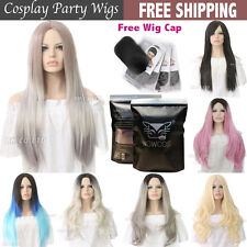 Fashion Womens Bob Long Straight Wig Synthetic Hair Black Ombre Silver Grey Wig