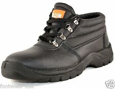 MENS BLACK WORK FACTORY SAFETY BOOTS STEEL TOE SIZE UK 6.5 7 8 9 9.5 10 11 NEW