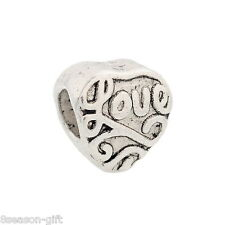 """Gift Wholesale Silver Tone """"Love"""" Heart Beads Fit Charm Bracelet 10x9mm"""