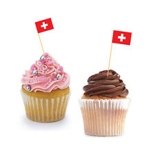 SWISS CUPCAKE FLAG - Switzerland Flag / Cupcake Decorations / Cupcake Toppers