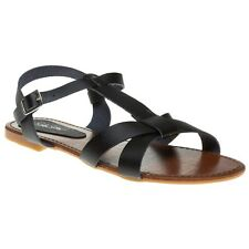 New Womens SOLESISTER Black Mixer Synthetic Sandals Flats Buckle