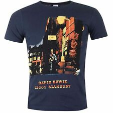 Official David Bowie Ziggy Stardust T-Shirt Mens Navy Tee Shirt Top